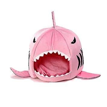 HAPPYX Cama Suave de Perros en Forma de Tiburón Casa de Mascotas con Cojín Extraíble,