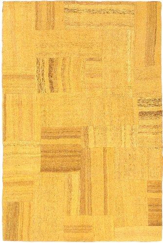 eCarpetGallery Hand woven Bohemian 4-Feet 7-Inch by 6-Feet 11-Inch Wool Kilim, Dark Gold