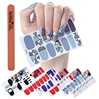 WOKOTO 6Pcs Extra Adhesive Nail Wraps Decals Self-Adhesive Nail Art Transfer Sticker Full Nail Tips Polish Patch Strips For Women Girls With 1Pc Nail File