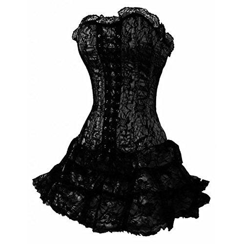 E-Girl�?Gothic Lace Trim Deman Corsage Korsett mit G-String,Schwarz,S