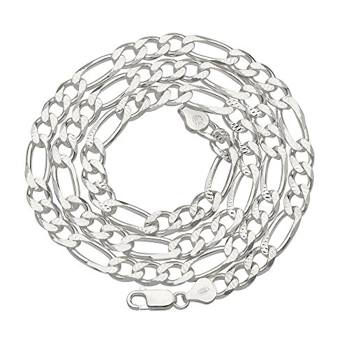7mm Mens Solid .925 Sterling Silver Diamond-Cut-Figaro Link Chain Necklace, 24 Inch (Diamond Cut Figaro Chain Necklace)