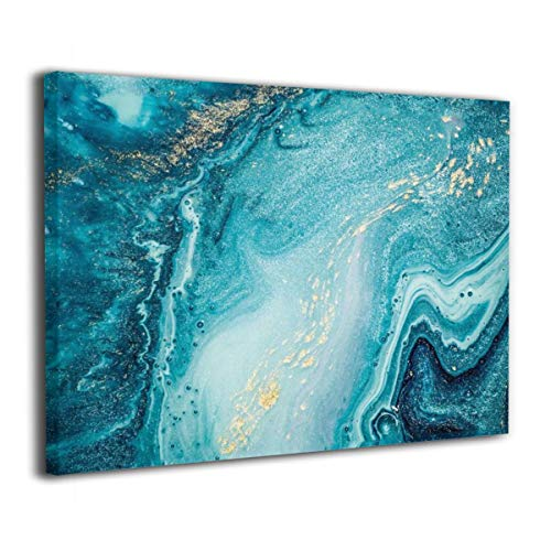 Okoart Canvas Wall Art Prints Agate Abstract Ocean Swirls Marble Photo Paintings Contemporary Decorative Artwork for Living Room Wall Decor and Home Decor Framed Ready to Hang 16x20inch