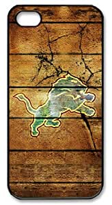 icasepersonalized Personalized Protective Case for iphone 5 - NFL Detroit Lions in Wood Backgroundin Wood Background