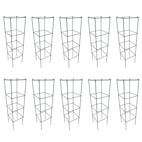 MTB Green Square Folding Tomato Cage Plant Support Stake Tower 12 inch by 46 inch, Pack of 10 Sets(Also Sold as Pack of 2 & 5,Galvanized is Available)