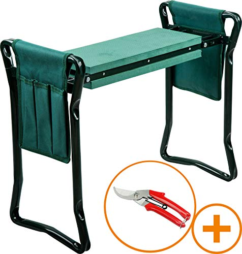 SUDOKEJI Garden Kneeler and Seat with 1 Pair Garden Scissors Kneeler Protects Your Knees Clothes from Dirt and Grass Stains Foldable Stool for Ease of Storage EVA Foam Pad Sturdy and Lightweight ()