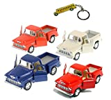 chevy truck keychain - Set of 4 Trucks:1955 Chevy Stepside PickUp Truck with Pull Back 5