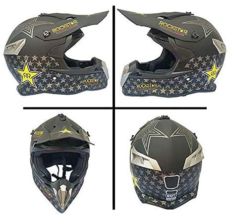 S Woljay Casques motocross Casque moto sport double pour motocross VTT salet/é v/élo Certifi/é DOT Rockstar Noir