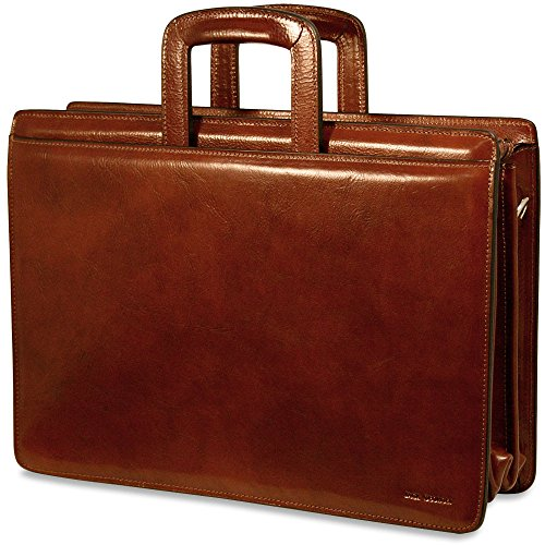 Jack Georges Mens Sienna Triple Gusset Top Zip Leather Briefcase in Cognac by Jack Georges