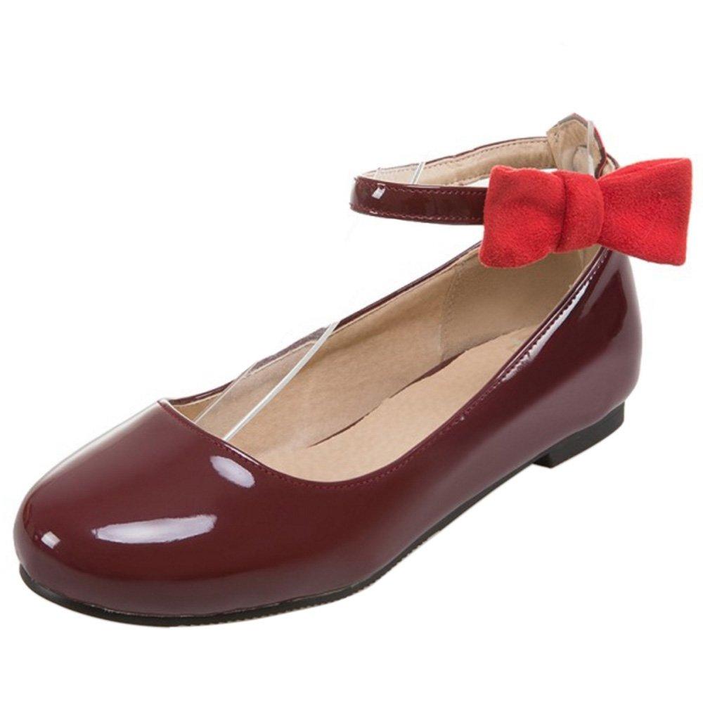 COOLCEPTFemme Doux Bout Ferme Rond Escarpins Plat Bride Cheville Boucle Chaussures Ballerine Avec Bow