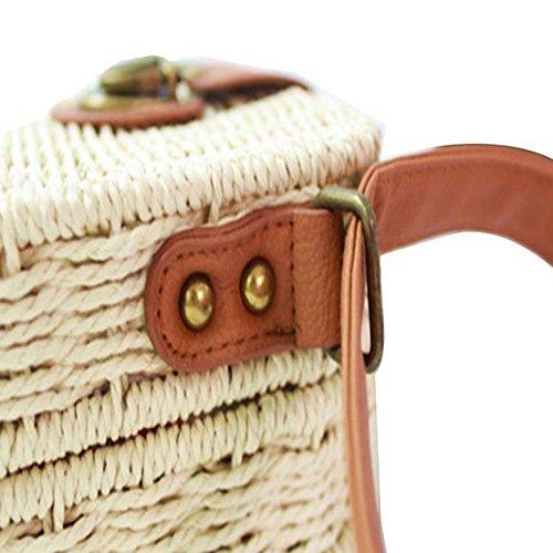 Bag Bag Crossbody Handbag Shoulder SODIAL Crochet Satchel Messenger Weave Woman White Beach Straw qHwTSYUt