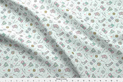 Spoonflower Knitting Fabric - Knit Yarn Scarf Socks Hats Winter Novelty Ting Yarn Sewing Needle Socks Hats Handmade by Kostolom3000 Printed on Sport Lycra Fabric by The Yard