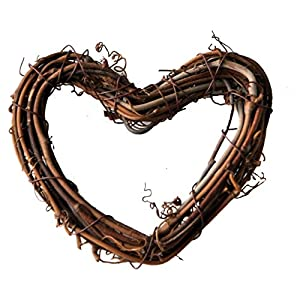 Ougual DIY Crafts Natural Grapevine Heart Wreaths (10 Inch, 3 Pack)