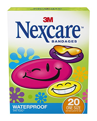 (Nexcare Tattoo Waterproof Bandages, Stays on When Bathing or Swimming, Smiley Face Prints, 20-Count Packages (Pack of 12))