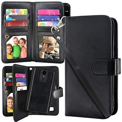 LG Aristo 2 Plus Case, Harryshell 12 Card Slots Detachable Magnetic Flip PU Wallet Leather Case Cover Wrist Strap for LG Tribute Dynasty/Fortune 2 / K8 2018 / Rebel 3 LTE/Zone 4 (Black)