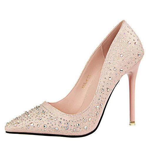 Allhqfashion Womens Pull On Punte A Punta Chiusa Spuntoni Stiletti Materiali Mix Pumps-shoes Rosa
