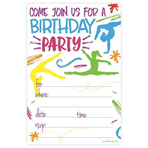 Gymnastics Birthday Party Invitations - Fill In Style (20 Count) With (Gymnastics Birthday Party Invitation)