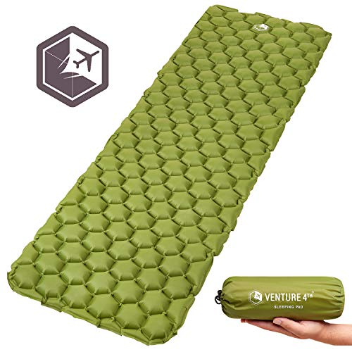 VENTURE 4TH Inflatable Sleeping Pad Ultralight, Compact, Durable, Tear Resistant, Supportive and Comfy | Camping Mat for Traveling, Sleeping Bag, Hammocks, Hiking and More | Dark Green