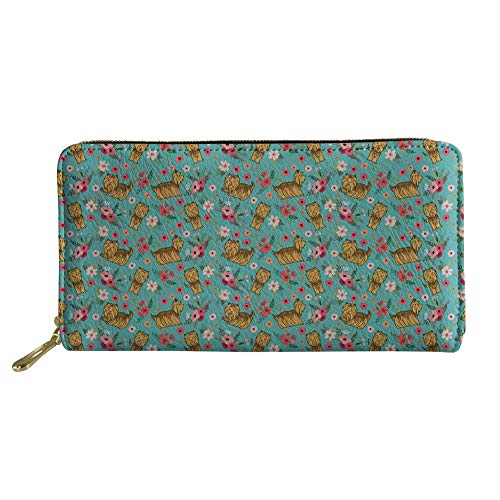 HUGS IDEA PU Leather Card Holder Clutch Long Wallet Brown Shih Tzu Dog Flowers Design Women