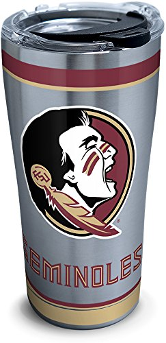 Tervis 1297815 NCAA Florida State Seminoles Tradition Stainless Steel Tumbler with Lid, 20 oz, Silver ()