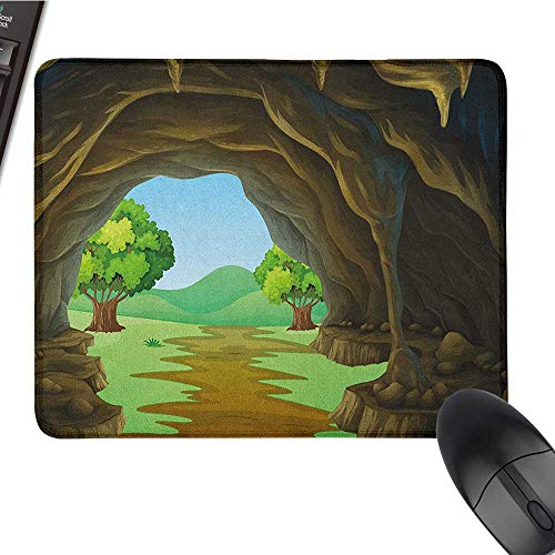 (Nonslip Rubber Base Cave,Rock Shelter in Countryside with Distant Hills Green Trees and Lawn, Pale Brown Green Pale Blue Nonslip Rubber Base 15.7 x23.6 INCH)
