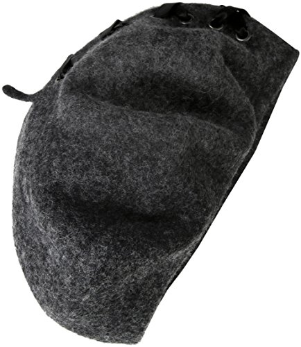 Steve Madden Women's Laced up Ribbon Wool Beret, Grey, One Size
