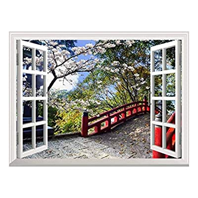 White Window Looking Out Into a Red Bridge Surrounded by Beautiful Trees Wall Mural, Premium Product, Alluring Visual