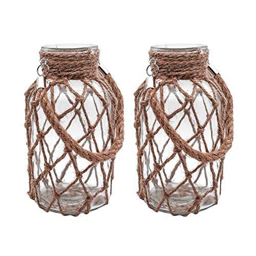 (Funsoba Rustic Hanging Mason Jar Creative Rope Net Dry Flower Glass Vase with Handle Pack of 2 (2 Vase 8