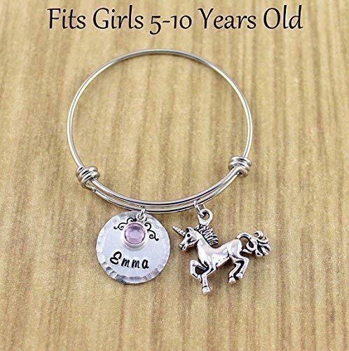 5993a5d71aae Personalized Little Girls Unicorn Bracelet • Unicorn Bangle Bracelet with  Name   Birthstone • Fits Girls ...