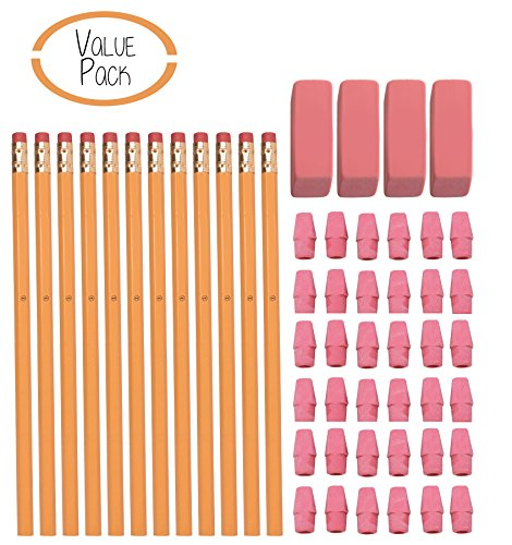 #2 HB Pencils, Wood-cased Pencils With Eraser Tops, 12 Pack - With 36 Pink Cap Erasers - With 4 Large Erasers - 100% Latex Free - Value Pack
