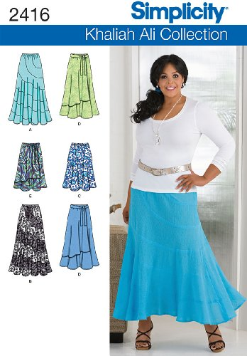 Simplicity Khaliah Ali Collection Pattern 2416 Women's Skirts with Variations Sizes 20W-28W