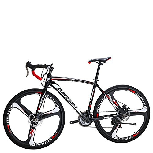 EUROBIKE Road Bike TSM550 Bike 21 Speed Dual Disc Brake 49cm 3-Spoke Wheels Road Bicycle