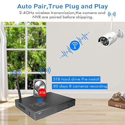 【3TB HDD Pre-Install 】 Hiseeu Wireless Security Camera System 8 CH NVR 4Pcs HD 1080P Indoor/Outdoor WiFi Surveillance Camera Wireless IR Bullet Camera Waterproof, Motion Alert, Remote Access