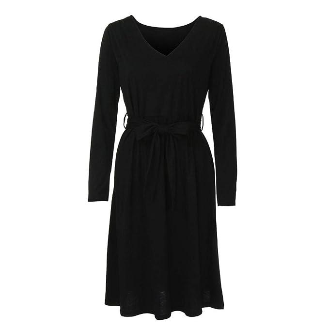Vestidos Sueltos para Mujer,Moda Largo Mangas V-Cuello Diario Casuales Cómodo Suelto Faldas