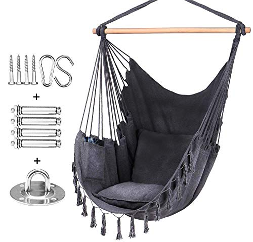 Rebel Life Hammock Hanging Rope Swing Indoor Macrame Chair with Max Capacity of 330LBS with 2 Cushions and Big Side Pocket for Comfort with Complete Hardware Set for Durability (Grey)