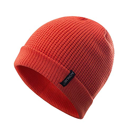 Heegay Beanie Hots for Men Women, Unisex Warm, Stretchy & Soft 100% Acrylic Knitted Hat Cap (Orange)