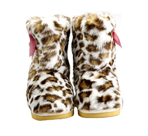 The Doll Maker Girl's Leopard Fur Boot Size: - Leopard Boots With Fur