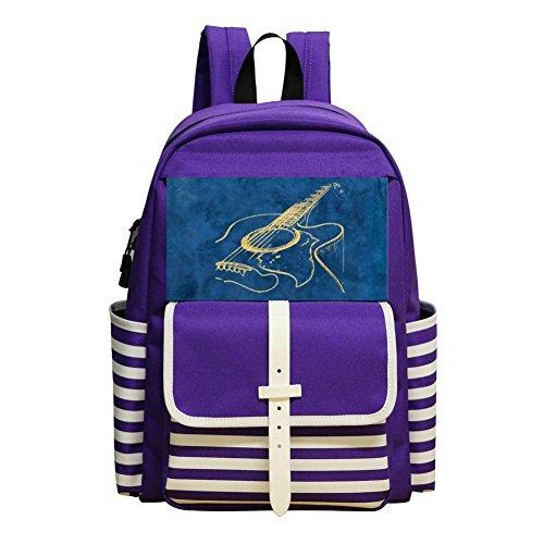 Mini School Backpack For Kindergarten Boy Girl,Print Acoustic Guitar Purple ()