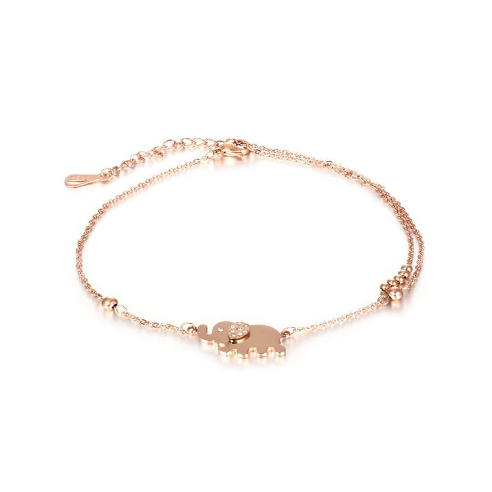 JAJAFOOK Womens Plated Rose Gold Anklet with Walking Elephant Pendant and Zirconia Diamonds Embedded Ear