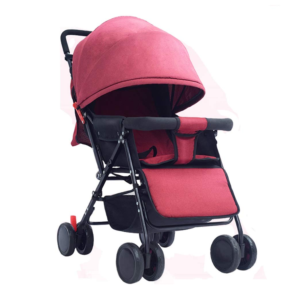 ベビーカー 背面ベビーカー ベビーカーポータブル超軽量傘折りたたみ赤ちゃん子供シンプルな新生児ベビーカー子供傘バック調節可能な角度炭素鋼材料3色 (色 : 赤)  赤 B07SCYXS5Y