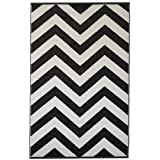 Fab Habitat Laguna-Black and White (5-Feetx8-Feet) Rug