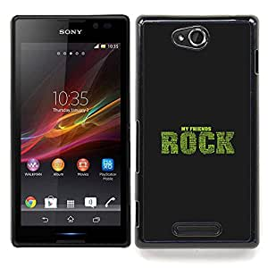 Jordan Colourful Shop - Friends Rock Qutoe Friendship Love Life For Sony Xperia C S39h C2305 - < Personalizado negro cubierta de la caja de pl??stico > -