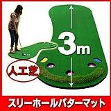 ゴルフ練習マット パター練習に最適3mのロングタイプ