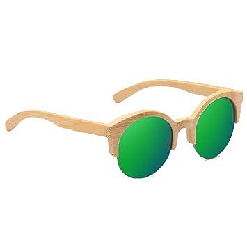 ANLW Gafas De Sol De Madera Redondas UV400 - Gafas Medias De Madera Retro Unisex Gafas