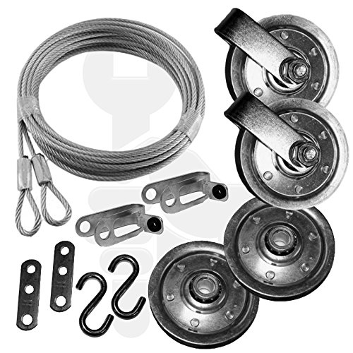 Extension Spring Pulley and Safety Cable Complete Garage Door Set for Ext Springs