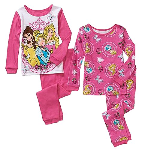 Disney Princess Tights (Disney Princess Big Girls 4 Pc Tight Fit Cotton Pajama Set (10))