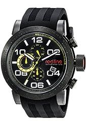 red line Men's RL-50068-BB-01-YEL Night Rally Analog Display Quartz Black Watch