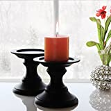 black candle stand - Store Indya – Set of 2 Pillar Candle Holders – Wooden Candle Holders For Wedding Party Spa Reiki