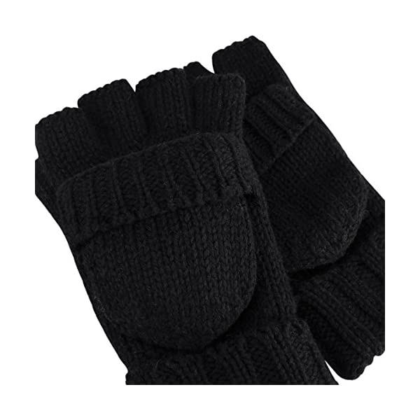 Bodvera Thermal Insulation Fingerless Texting Gloves Unisex Winter Warm Knitted Convertible Mittens Flap Cover