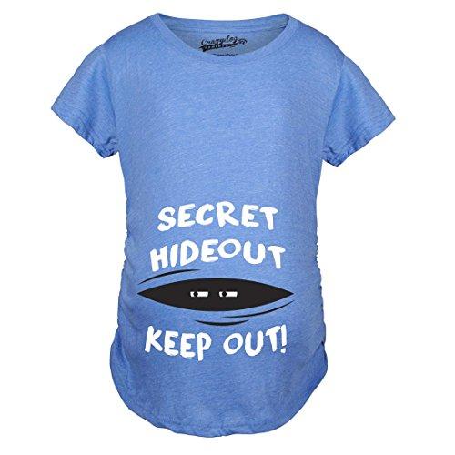 Crazy Dog TShirts - Maternity Secret Hideout Baby Peeking Maternity Shirt Funny Pregnancy Shirts (Blue) XL - damen - XL