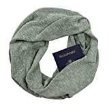 Olive Rib Knit Infinity Scarf with Zippered Secret Pocket